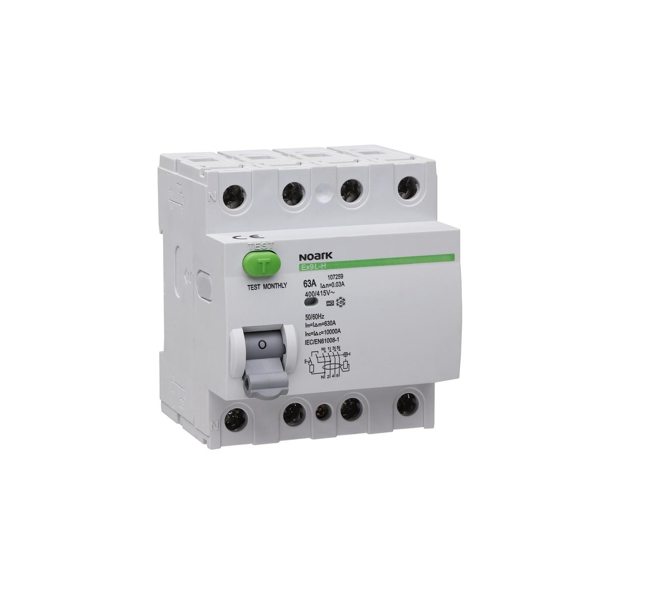 Дифференциальный выключатель (УЗО) Noark 6кА 25А 4P 30mA тип AC Ex9L-N 108331