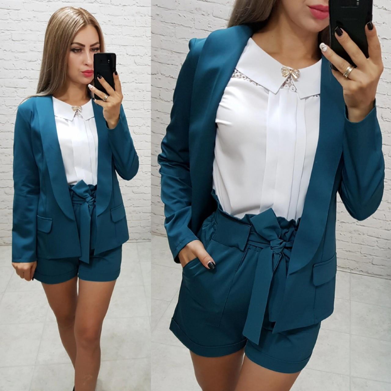 Комплект-двойка шорты  и  пиджак  , цвет морская волна