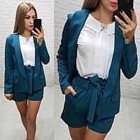 Комплект-двойка шорты  и  пиджак  , цвет морская волна, фото 1