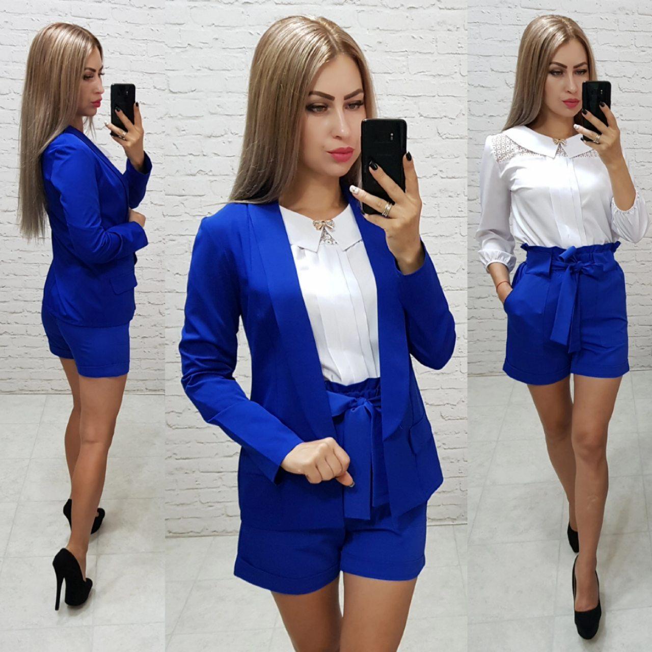 Комплект-двойка шорты  и  пиджак  , цвет электрик