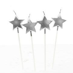 Свечи Звезды (серебро) (уп. 4 шт)