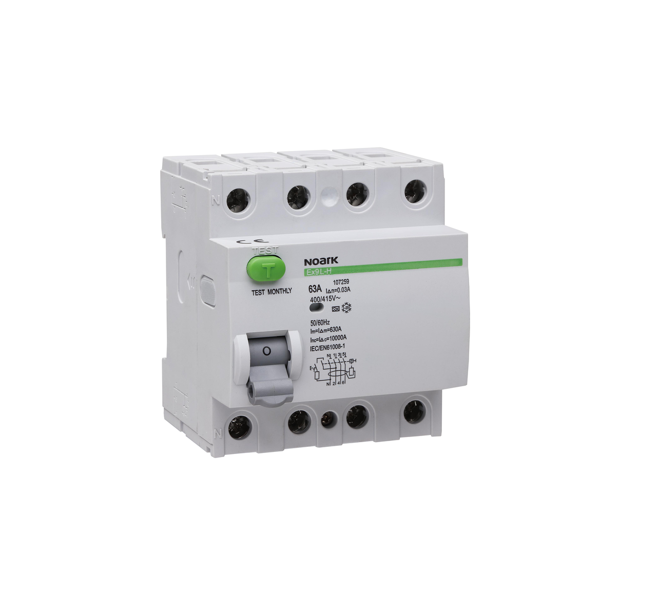 Дифференциальный выключатель (УЗО) Noark 6кА 40А 4P 100mA тип AC Ex9L-N 108336