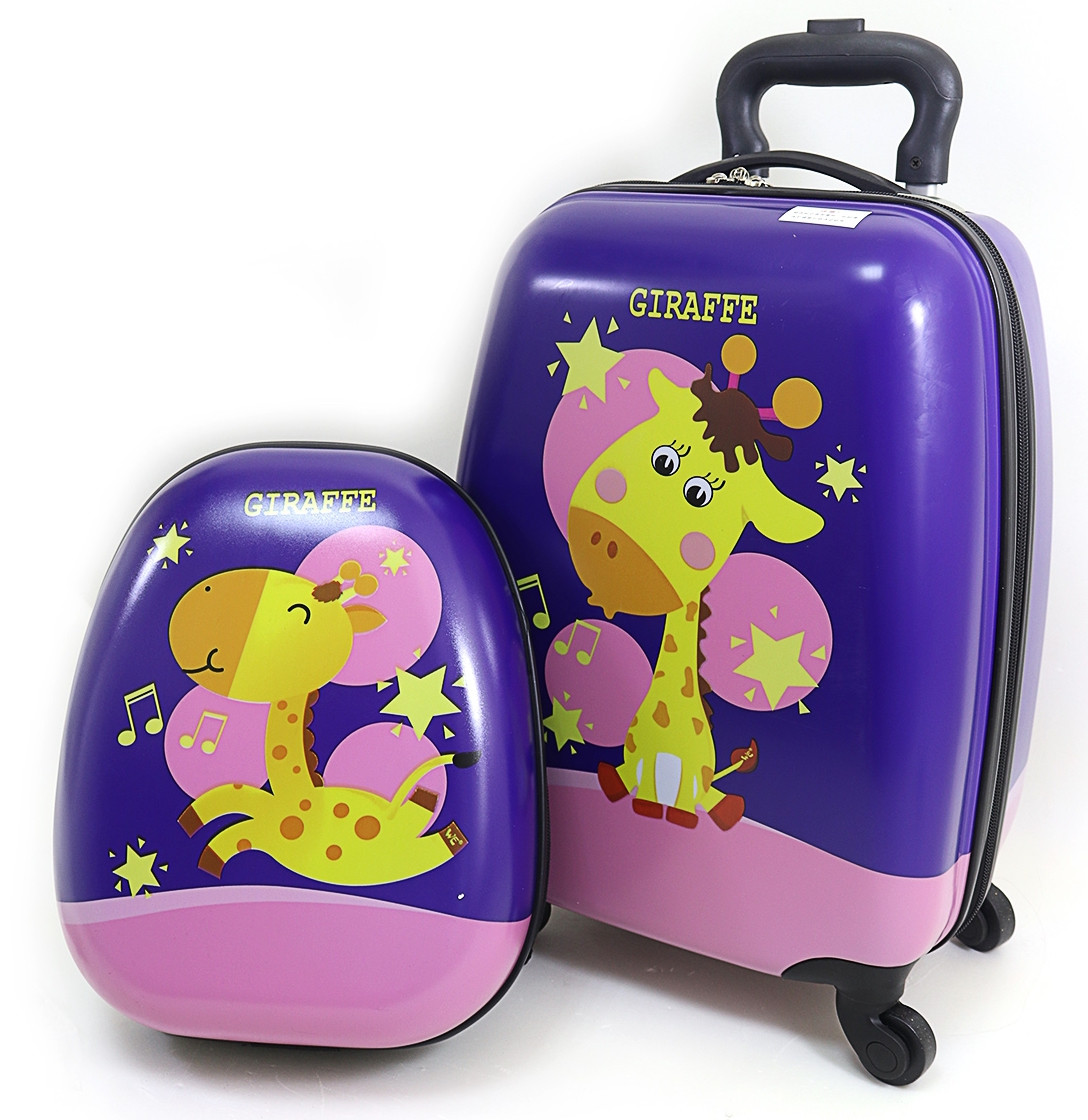 "Набор ""Giraffe"": чемодан детский на 4 колесах 16"" + рюкзак 13"""