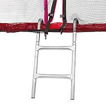 Батут Atleto 183 см с двойными ногами  с сеткой + лестница красный, фото 2