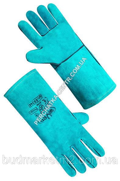 Рукавица крага на подкладке зеленая длинная  35 см