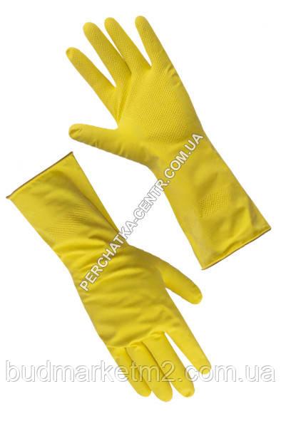 """Перчатки хозяйственные желтые """"L""""  29 см"""