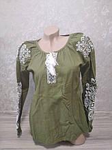 Женская зеленая вышиванка - размер L (48)
