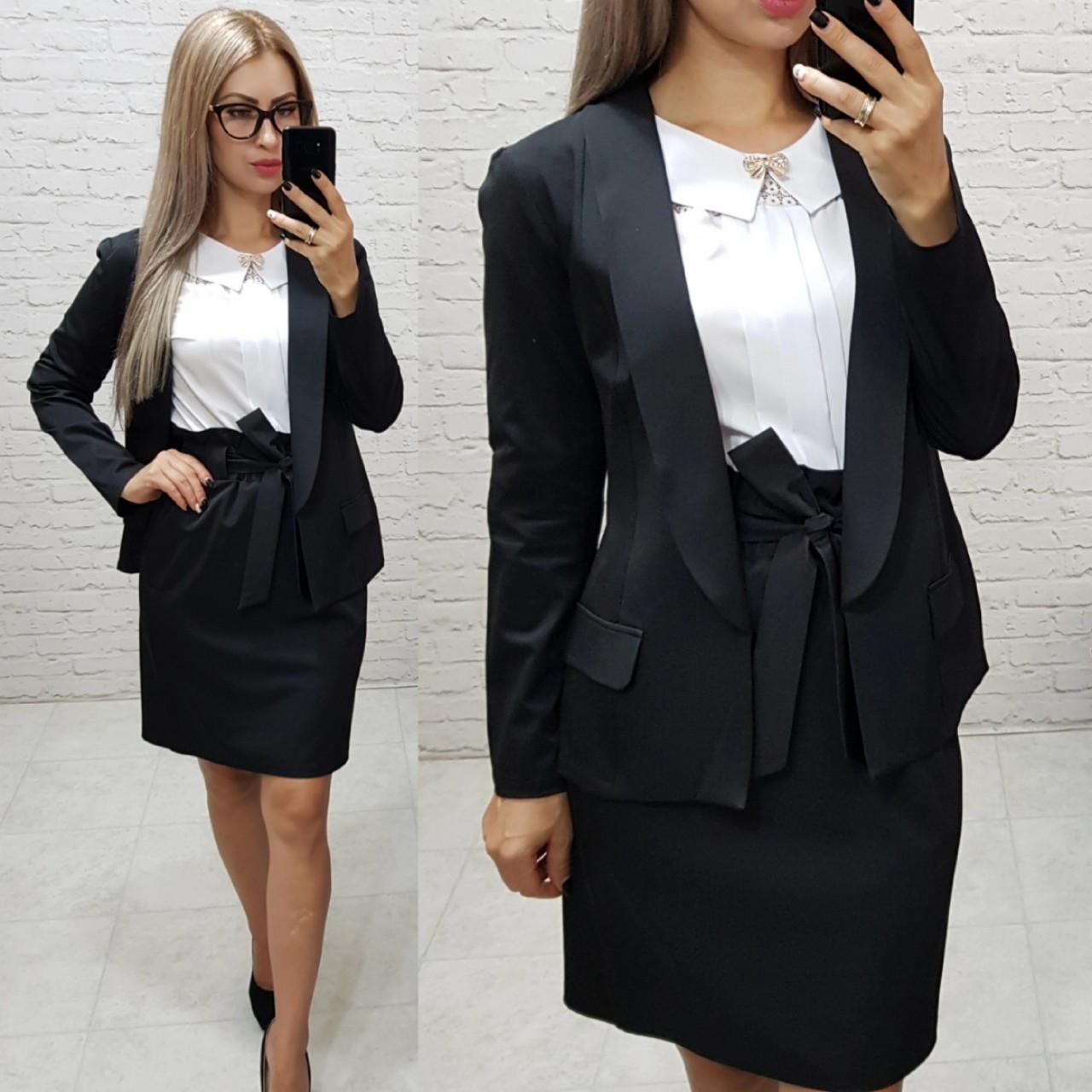 Комплект-двойка юбка  и  пиджак  , цвет черный