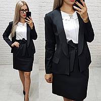 Комплект-двойка юбка  и  пиджак  , цвет черный, фото 1