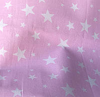 """Хлопок 50х40 см """"Звёзды разные белые"""" на розовом"""