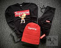 Мужской спортивный костюм тройка Supreme черного цвета с красным рюкзаком