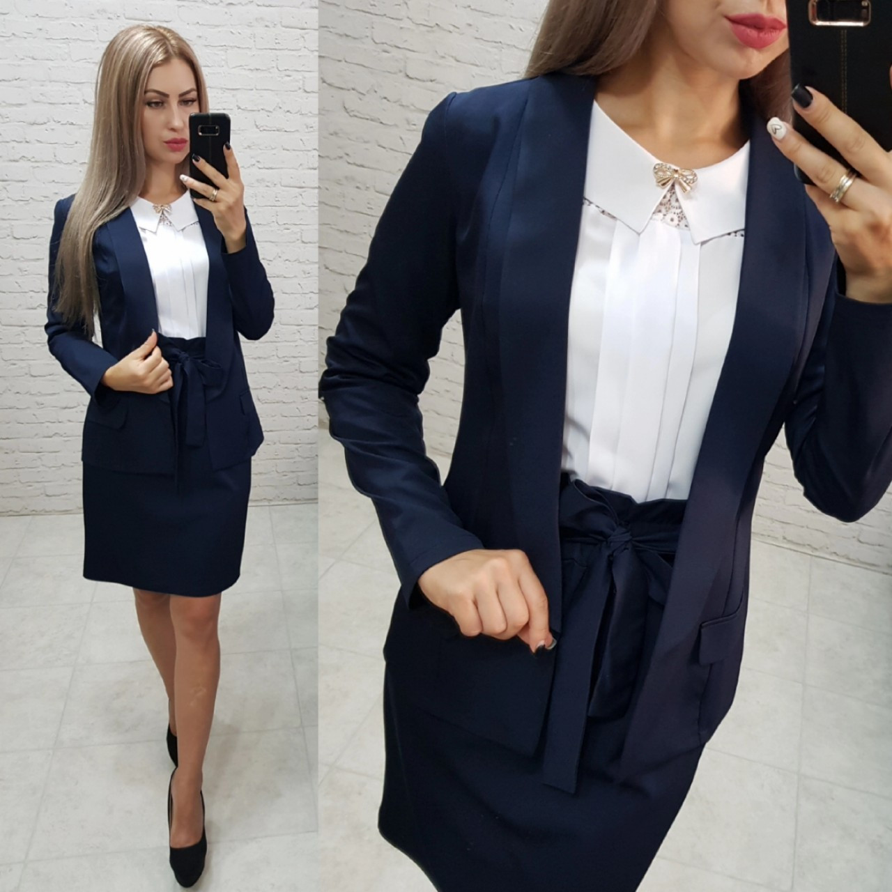 Комплект-двойка юбка  и  пиджак  , цвет темно-синий