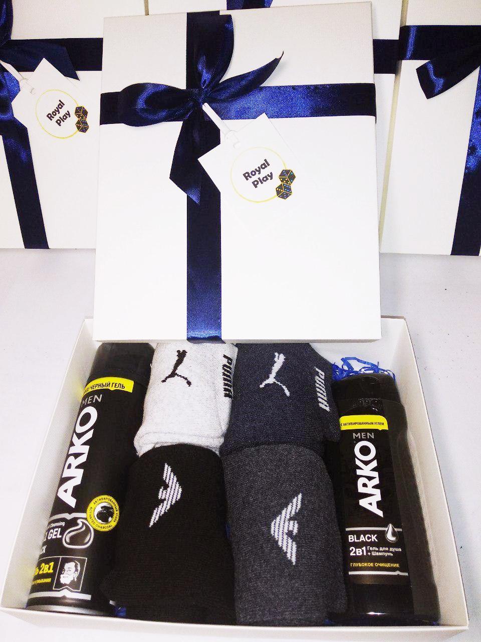 """Подарочный мужской набор """"Заботливый"""" от ROYAL PLAY (носки Армани 4 пары,набор для бритья Арко мен)"""