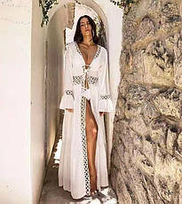 Пляжный белый халат на завязках, фото 3