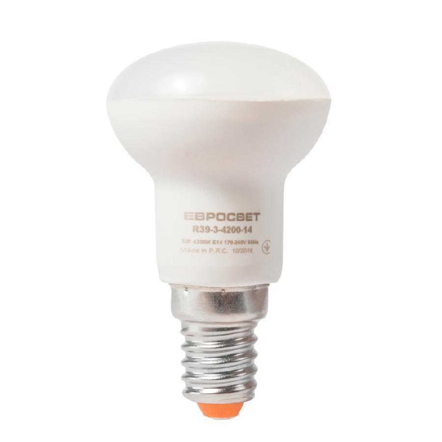 Лампа светодиодная ЕВРОСВЕТ 3Вт 3000К R39-3-3000-14 E14