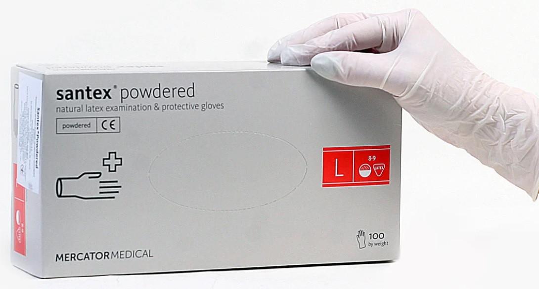 Рукавички латексні Mercator Medical Santex powdered, розмір L (8-9), 50 пар.