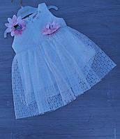 """Детское нарядное платье для девочки """"Цветы"""" 9 мес-2года,белого цвета"""