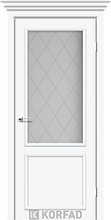 Двери Корфад Classico CL-02 со штапиком в цвете белый перламутр, стекло М1 либо М2