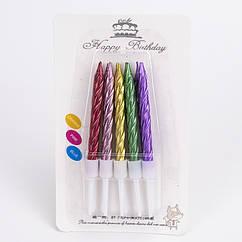 Свечи в торт цветной металлик  (уп.10шт.)