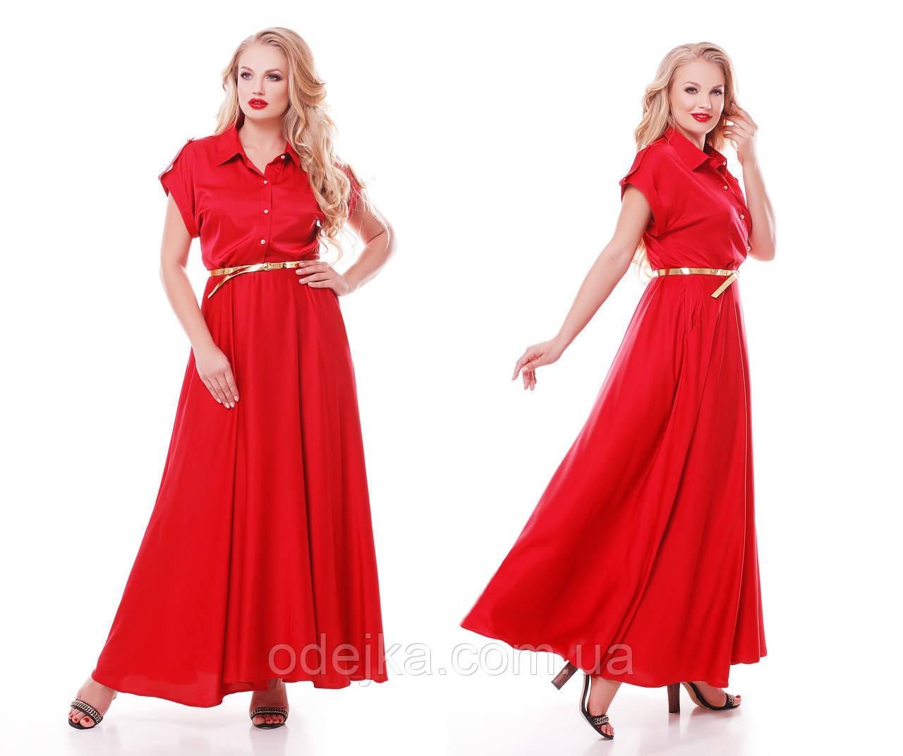 Роскошное платье макси в пол  Алена красное