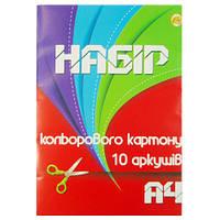 """А4 10 Картон цветной ТМ """"Тетрада"""", 5шт в упак. /25/"""