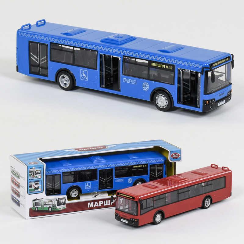 """Автобус """"Play Smart"""", зв мотора, муз, свет фар, двери откр, инерция, на батар, 2 цвета, в кор. /36/"""
