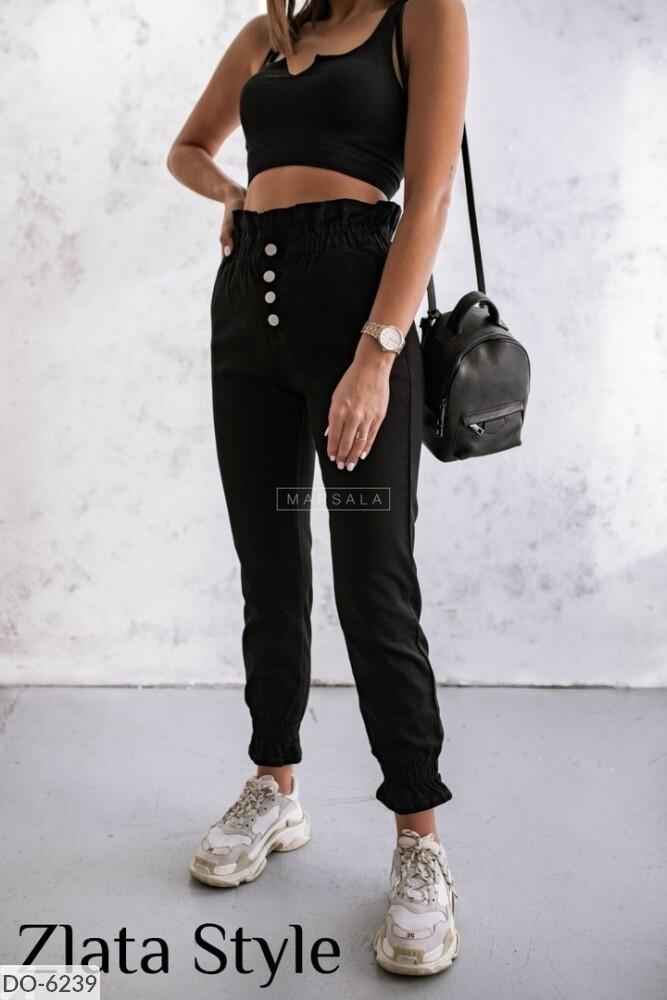 Женские брюки однотонны, внизу на резинке. Размер: 42-44, 44-46. Ткань: джинс коттон.Цвета: черный