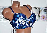 Большой 64 размер. Красивый синий раздельный женский купальник с узором, сброшью и  стразами, большая чашка G.