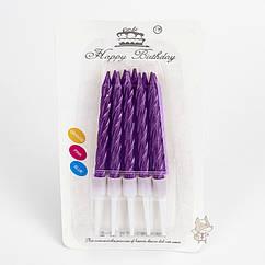 Свечи в торт фиолетовый металлик (уп.10шт.)