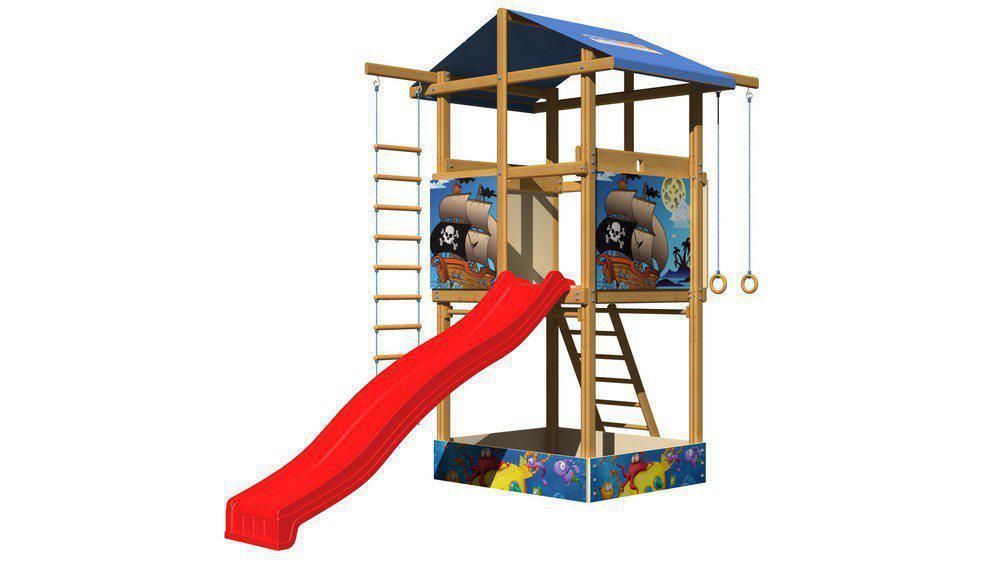 Детская спортивная деревянная площадка SportBaby-7, размер 3.15х 4 х 1.45 м