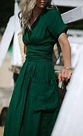 Смарагдово-зелене плаття з льону , кольору є інші в асортименті, фото 1