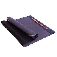 Коврик для йоги Record, замшевый, каучуковый двухслойный,р-р 1,83мx0,61мx3мм, черный (FI-5662-59)