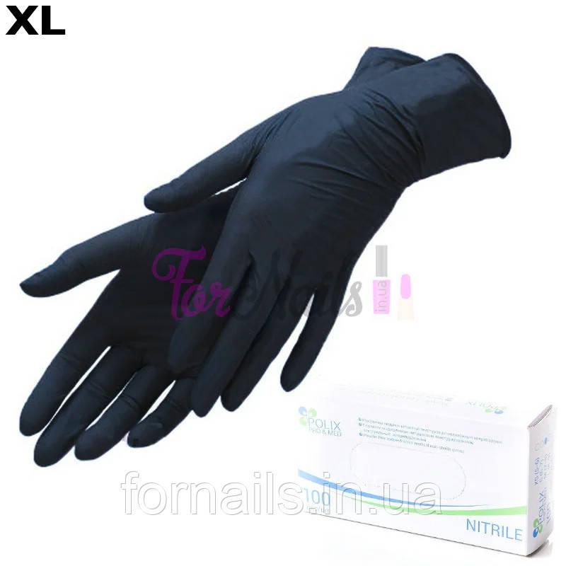 Перчатки нитриловые POLIX Black, 100 шт XL