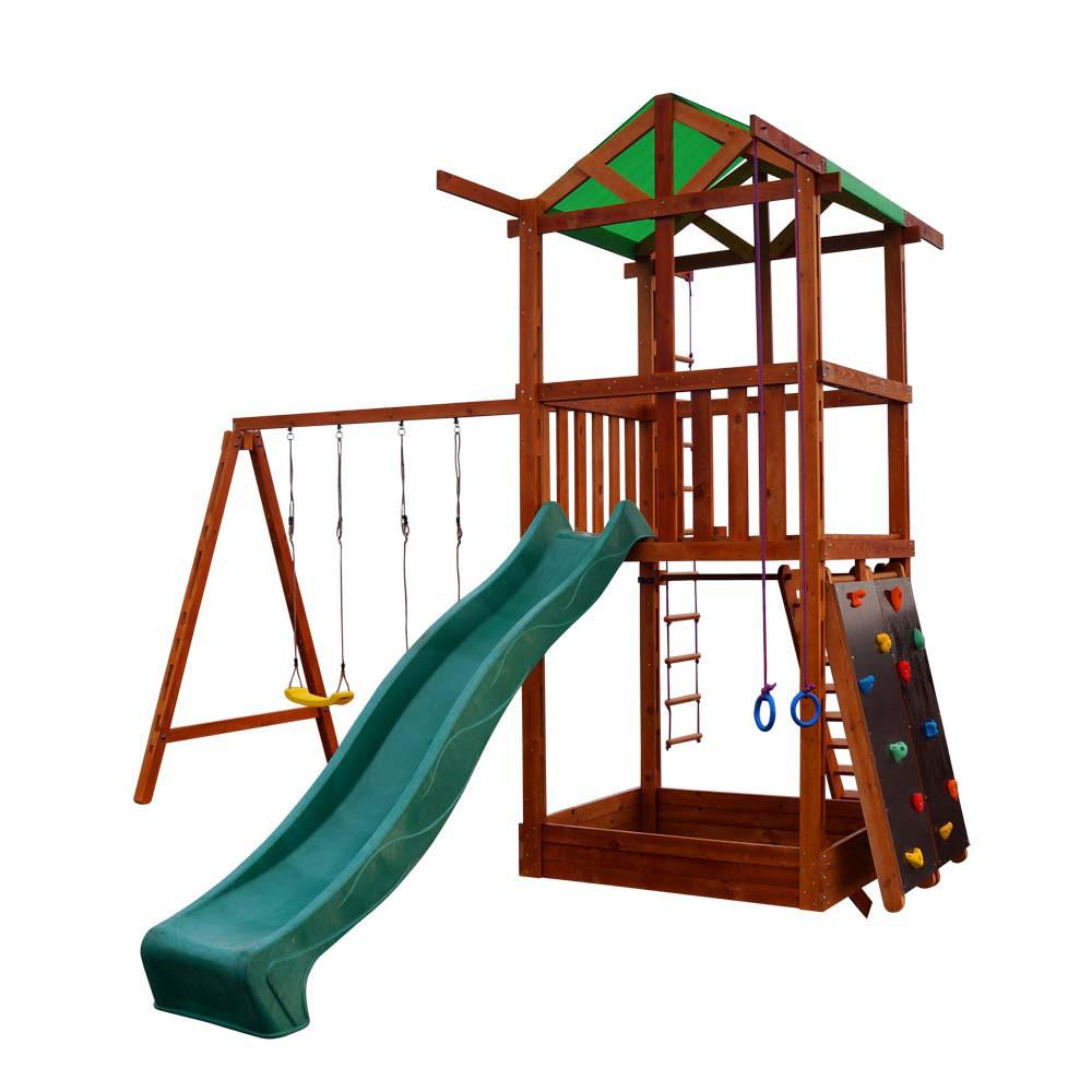 Детская спортивная деревянная площадка Babyland-4, размер 3.2х 4.1 х 4.4 м