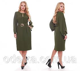 Стильное платье женское Екатерина оливкового цвета
