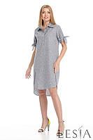Летнее платье прямого силуэта из натуральной ткани Lesya Плутон.