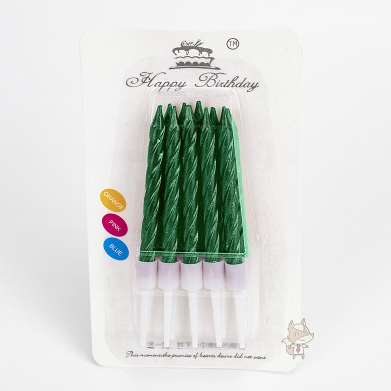 Свечи в торт зеленый металлик (уп.10шт.)