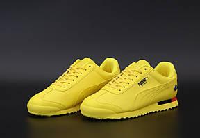 Мужские кроссовки Puma Roma ''Bmw'' Yellow \ Пума Рома БМВ Желтые \ Чоловічі кросівки Пума Рома БМВ Жовті