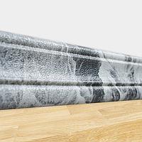 Самоклеющийся напольный плинтус Черный мрамор (гибкий пластиковый настенный для 3Д панелей в рулоне) 240*8 см