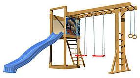 Дитячий спортивний дерев'яний майданчик SportBaby-15, розмір 2.4х 3.7 х 3.3 м