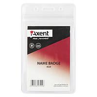 """Бейдж """"Axent"""" вертик. проз. 54х82мм zip-lock 4529-A"""