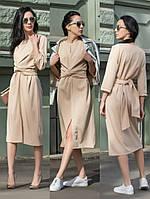 Жіноче стильне   плаття з поясом та розрізом ,3 кольори .Р-ри 44-54