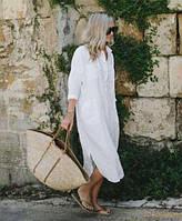 Стильне плаття-сорочка, натуральний льон, кольору від пастелі до яскравих в асортименті. Розмір 42-72+, плюс