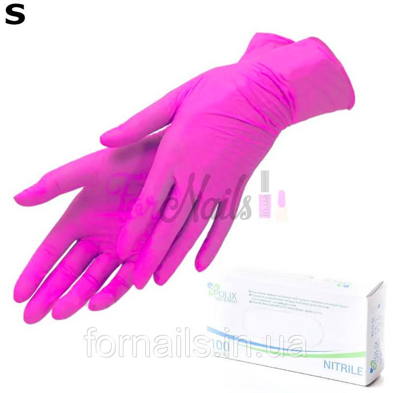 Рукавички нітрилові POLIX Pink, 100 шт S