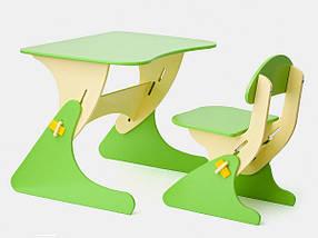 Детский стол и стул с регулировкой по высоте салатовый / Детская мебель