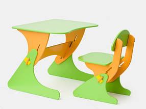 Детский стул и стол регулируемый салатово-оранжевый / Детская мебель