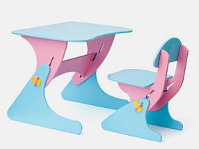 Письменный стол и стул для ребенка 2 года голубо-сиреневый / Детская мебель