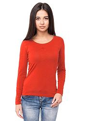 Червона футболка з довгим рукавом жіноча без малюнка бавовна стрейчева трикотажна