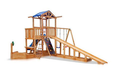 Дитячий спортивний дерев'яний майданчик Babyland-13, розмір 6,5х7,5 х 3,1м, фото 2
