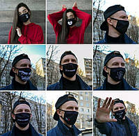 Маска для лица. Для защиты от пыли и других раздражителей. Карантин. Многоразовая. Принтом, фото 1